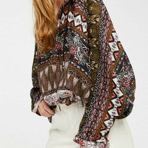 Free People Hold on Tight Gauze Hooded Top XS S